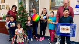 Topaz students with donations from a local friend of the school.