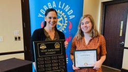 Amanda Boggs, Dean of Students, and Genevieve O'Gilvy, senior at El Camino celebrate at the YL Rotary Breakfast.